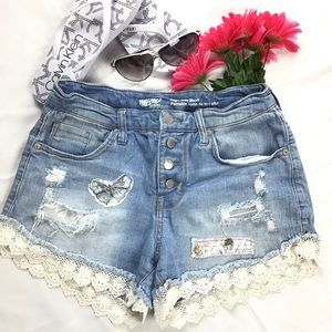 Upcycled High Waist Distressed Denim Jean Shorts